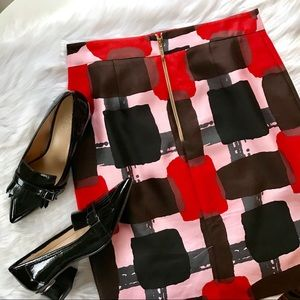 NWOT KATE SPADE Jordan Pink Abstract Silk Skirt